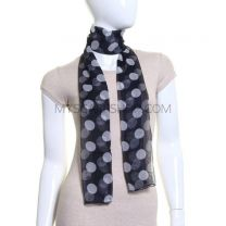 Navy and White Big Polka Dot Chiffon Scarf