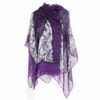 Purple Floral Pashmina - Large