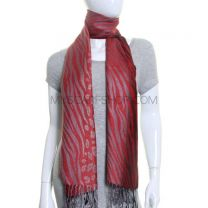 Red Animal Print Pashmina Shawl