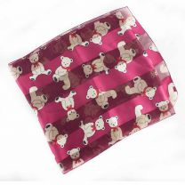 Red Teddy Bear Striped Chiffon Scarf