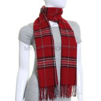 Red Tartan Wool & Cashmere Blend Scarf