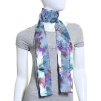 Big Flower Satin Stripe Scarf (Blue)