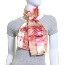 Pink Abstract Waves Satin Stripe Scarf