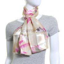 Iris Print Satin Stripe Scarf (Light Yellow)