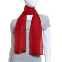 Deep Red Chiffon Scarf