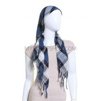 Blue Check Lurex Square Scarf
