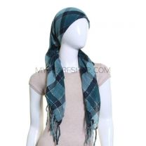 Green Lurex Check Square Scarf