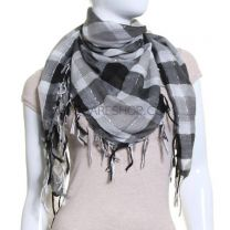 Black & Grey Lurex Check Square Scarf