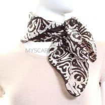 Dark Brown Batik Square Silk Scarf