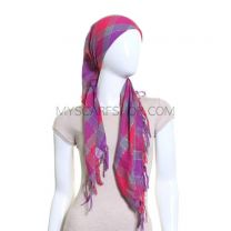 Pink & Purple Check Lurex Square Scarf