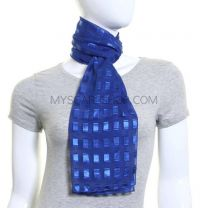 Royal Blue Rectangles Chiffon Scarf