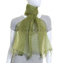 Green Sheer Silk Checked Shawl