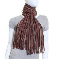 Burgundy Tone Stripes Winter Scarf