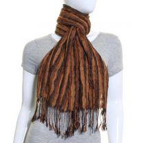 Brown Stripes Crinkle Winter Scarf
