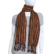 Brown Stripes Crinkle Winter Scarf