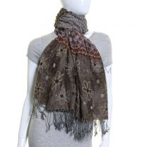 Brown Floral Silk Blend Pashmina