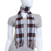 Pale Pink Check Winter Scarf