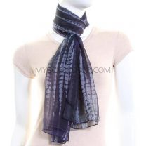 Navy Abstrcat Stripes Chiffon Scarf