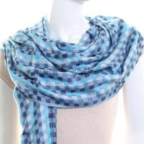 Blue Check Lightweight Shawl