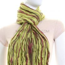 Green & Red Stripes Wool Blend Crinkle Pashmina