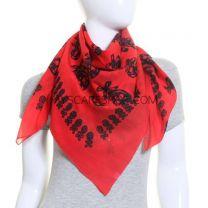 Red Skulls Square Cotton Scarf