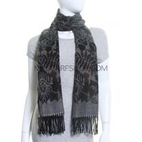 Grey Cashmere Feel Floral Winter Pashmina
