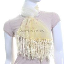 Yellow Sheer Silk Chiffon Scarf (Floral)
