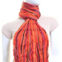 Crinkle Pashmina Orange Multi Colour (Wool Blend)