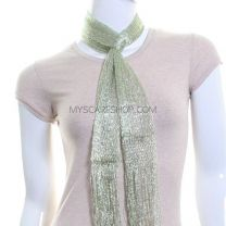 Skinny Lurex Scarf (Light Green)