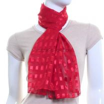 Red Rectangles Chiffon Scarf