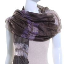 Brown Gathered Silk Scarf