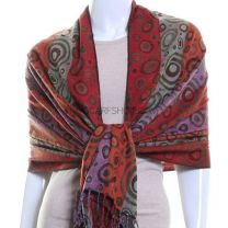 Circle Jacquard Pashmina (Orange Multi Colour)