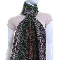 Circle Jacquard Pashmina (Black Multi Colour)