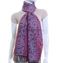 Circle Jacquard Pashmina (Purple Multi Colour)