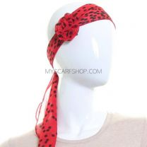Detachable Flower Clip Chiffon Sash Scarf (Red Polka Dot)