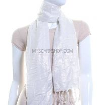 White Lurex Stripes Pashmina Scarf