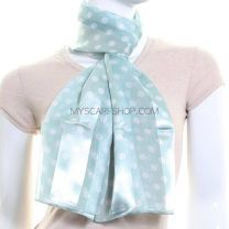 Aqua Polka Dot Satin Stripe Scarf