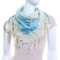 Blue Square Cotton Scarf (Floral Paisley)
