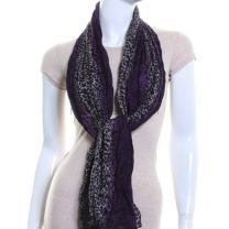 Purple Leopard Print Crinkle Cotton Scarf