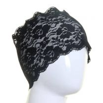 Black Floral Lace Hijab Bonnet