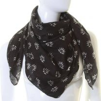 Black Hemp Leaves Cotton Square Scarf