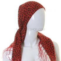 Red Stars Print Tasseled Square Scarf