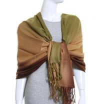 Brown Blended Stripes Silk Mix Pashmina