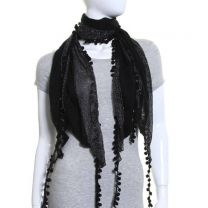 Black Lurex Stripe Pom Pom Scarf