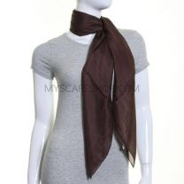 Brown Large Square Silk Scarf