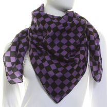 Purple Cotton Square Check Scarf