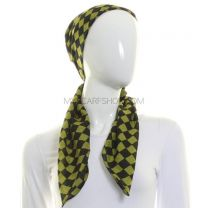 Green Cotton Square Check Scarf
