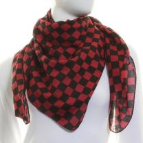 Red Cotton Check Scarf