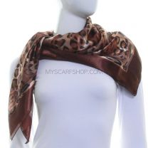 Brown Leopard Print Square Satin Scarf