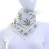 White Hemp Leaf Cotton Bandana
